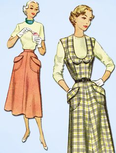 1950s Vintage McCall Sewing Pattern 8262 Uncut Misses Skirt or Jumper Sz 10 28B #McCall #JumperDressPattern