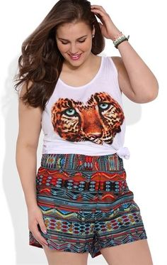 Deb Shops Plus Size Tribal Print Woven Short with Wide Elastic Waistband