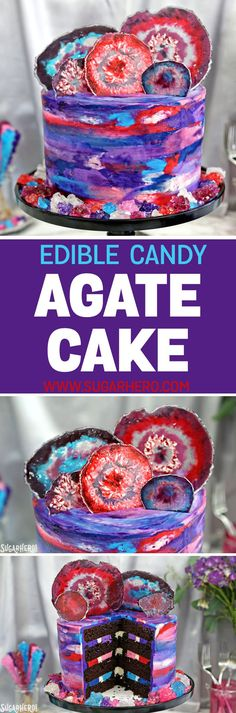 This Agate Cake has gorgeous, EDIBLE candy agate slices, and a pretty watercolor buttercream effect! Sweet Recipes, Cake Recipes, Dessert Recipes, Cake Decorating Tips, Cookie Decorating, Cupcake Cakes, Cupcakes, Nutella, Agate Slices