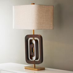 Three Ring Wood Table Lamp. mid century beauty.