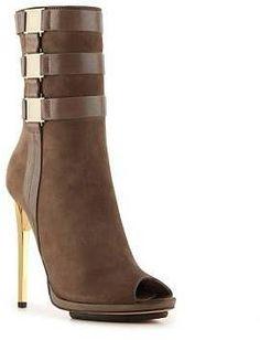 Emmy DE * Herve Leger Crissy Nubuck Leather Platform Bootie