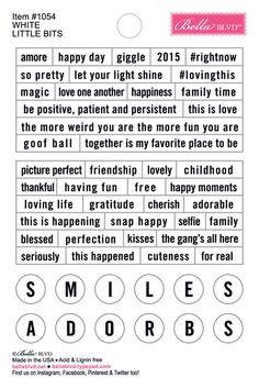 1054 White Little Bits 4x6 Stickers Scrapbook Quotes, Scrapbook Titles, Photo Album Scrapbooking, Scrapbook Stickers, Scrapbook Paper, Bullet Journal Books, Junk Journal, Diy Handmade Album, Self Adhesive Photo Albums