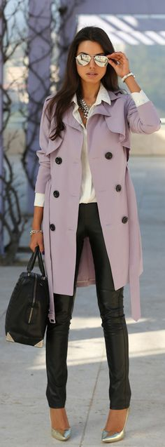 Love this ensemble! Nasty Gal trench coat paired with BCBG leatherette pants and an Alexander Wang handbag.