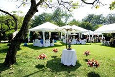 Interesting idea for a tent wedding...individual tents for each table