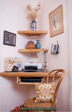 18 DIY Space-Saving Furniture Ideas - - You can use some DIY space-saving furniture ideas if you have a small home with small space. These ideas are suitable to make more free space inside your home using unique furniture. Space Saving Desk, Space Saving Furniture, Diy Furniture, Unique Furniture, Office Furniture, Desk Space, Space Space, Diy Corner Shelf, Corner Hutch