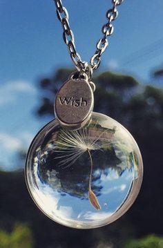 Dandelion Seed Necklace - Glass, Wish, Nature, Unique