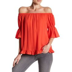 Ro & De Off-the-Shoulder Ruffle Blouse featuring polyvore, women's fashion, clothing, tops, blouses, coral chic, off the shoulder blouse, bell sleeve tops, off the shoulder ruffle blouse, off shoulder tops and red top