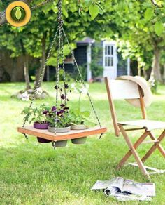 What a gorgeous idea! Refresh your garden or living room with DIY Hanging Table!The hanging table is not Hanging Table, Diy Hanging, Hanging Planters, Hanging Furniture, Outdoor Furniture Sets, Outdoor Decor, Pallet Furniture, Outdoor Spaces, Diy Garden