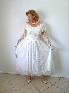 Vintage 1980s Wedding Lace dress Beaded Pearl by KMalinkaVintage