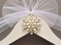 Pearl and Rhinestone Bridal Hanger,  Wedding Shower Gift, Wedding Dress Hanger, Jewels & Rhinestone Hanger