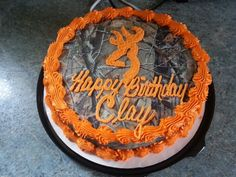 Camo cake..  Perfect it even says Clay!