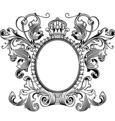 "This vintage ""vector art"" frame to embroider on host chairs with initials in center for the dining room. (Vintage frames vector 312497 - by AZZ on VectorStock®)"