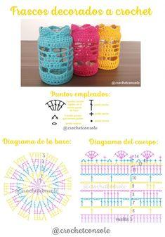 Frascos decorados a crochet. Patrón con diagrama y video tutorial. Crochet Chart, Crochet Motif, Crochet Doilies, Crochet Flowers, Crochet Patterns, Crochet Cup Cozy, Crochet Home, Love Crochet, Crochet Gifts
