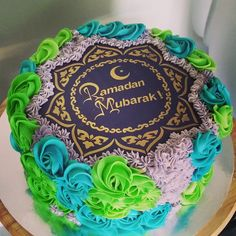 Ramadan Mubarak Cake , stencil from Stencil Land : www.stenciland.com , also available through our Etsy shop ''stenciland''
