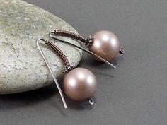 Silver Earrings Powder Almond Swarovski Pearl by RiverGumJewellery, $25.00