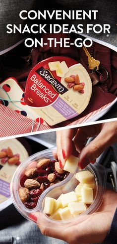 Did you know that you can have creamy Sargento® natural cheeses, roasted nuts, and sweet dried fruits to-go? Seriously, you can! So be sure to pick-up our all-in-one Balanced Breaks® snacks on your next shopping trip!
