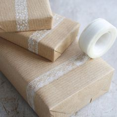 How to use all that pretty tape? Use it as the decorative element on plain gift wrapping.