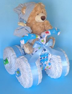 diaper cake baby cake 4 wheeler quad atv motorcycle teddy bear baby gift cake. Black Bedroom Furniture Sets. Home Design Ideas