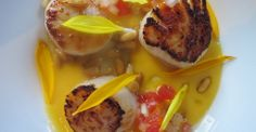 Scallops with Melon, Sunflowers and Pine Nuts - Chef Anthony Sasso