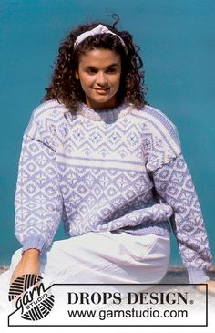 """DROPS jumper with pattern in """"Alaska"""". Ladies and Men's size S – L."""