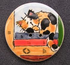 Calico Cat On Books Ceramic Clay Studio by GoodNiteGracieBeads, $7.00