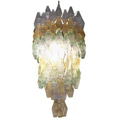 "Large Multi-Color ""Poliedro"" Glass Chandelier by Venini, 1960 