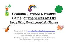 """HI there! These are narrative language cards to use with a Cranium Cariboo game for the book: There Was An Old Lady Who Swallowed A Clover. Included are 15 picture icons to replace the """"trap door"""" pictures on your game, and 15 questions for story retelling."""