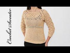 Part 2 Sweater crochet pattern Crochet Hooded Scarf, Gilet Crochet, Knitted Romper, Crochet Scarves, Crochet Clothes, Crochet Lace, Sweater Knitting Patterns, Lace Knitting, Crochet Patterns