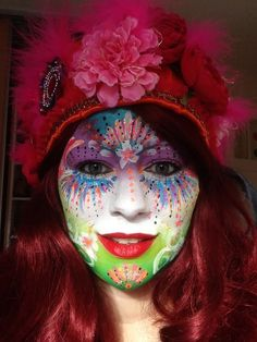 vastelaovend Eingereicht von Jenneke - Famous Last Words Face Painting Tutorials, Face Painting Designs, Painting Patterns, Woman Painting, Body Painting, Clowns, Halloween Make Up, Halloween Face Makeup, Female Clown