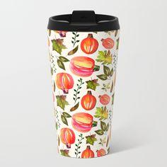 Pumpkins & Leaves Metal Travel Mug