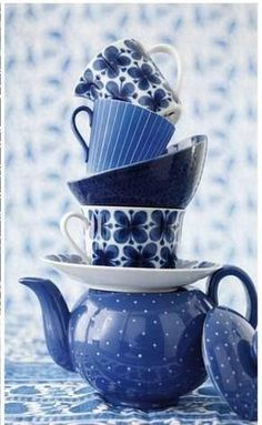 Blue teapot and teacups!