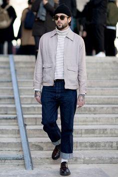 2017-03-28のファッションスナップ。着用アイテム・キーワードはサングラス, デニム, ドレスシューズ, ニットキャップ, ハンチング・キャスケット, ブルゾン, ボーダーシャツ,etc. 理想の着こなし・コーディネートがきっとここに。| No:204378