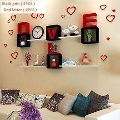 8PC-LOVE-fashion-letters-wall-decoration-shelf-light-wood-frame-lattice-PU-paint