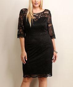 This Soiéblu Black Lace-Overlay Scoop Neck Sheath Dress - Plus by Soiéblu is perfect! #zulilyfinds