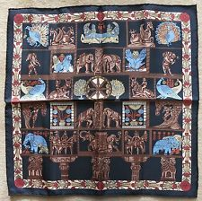 Authentic HERMES 100% silk neck scarf egyptian print