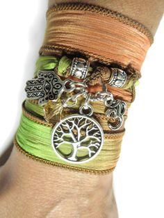 Tree of Life Wrap Silk Bracelet