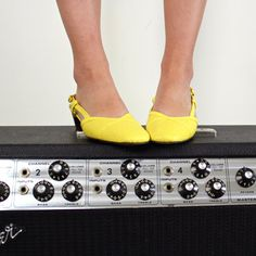 """1960s Yellow Shoes """"Lucky I'm lucky in my yellow shoes."""" Lyric from the song Yellow Shoes by #GracieSchram #IAmMe #DoYourLaundry"""