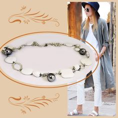 #Collana Lunga Bianco e Argento