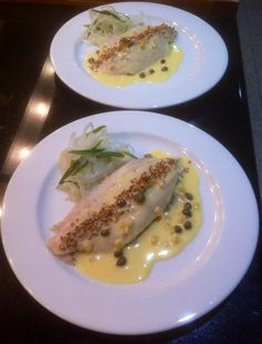 From Tim Sutherland, a member on the ChefSteps forum - Branzino with Bulgur, Fennel, Tarragon, and Lemon Caper Beurre Blanc.