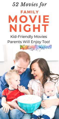 A list of 52 movies for family movie night (one for every weekend of the year! These are kid-friendly movies that parents will actually enjoy watching too. Make family movie night fun again! Movie Night For Kids, Family Movie Night, Family Movies, Kids And Parenting, Parenting Hacks, Natural Parenting, Kid Friendly Movies, Fun Activities For Kids, Family Activities