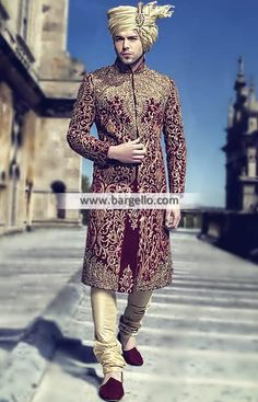 Royal Class Sherwani Suit for Grooms Color: Rosewood Fabric: Velvet Royal class sherwa