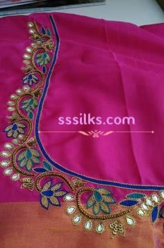 Cutwork Blouse Designs, Kids Blouse Designs, Simple Blouse Designs, Flower Embroidery Designs, Bridal Blouse Designs, Aari Embroidery, Dress Neck Designs, Machine Embroidery, Embroidery Works