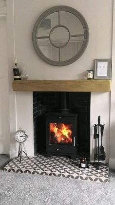 Wood Burner Fireplace, Cosy Fireplace, Living Room Decor Fireplace, Fireplace Surrounds, Fireplace Design, Vintage Fireplace, Fireplace Ideas, Log Burner Living Room, Open Plan Kitchen Living Room