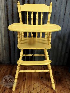 Custom Painted High Chair- Websters Chalk Paint Powder and Benjamin Moore's Firefly, sealed with food safe seal.
