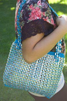 Upcycled Turquoise Crochet Pop Tab Purse. $65.00, via Etsy.