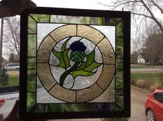 Thistle stained glass