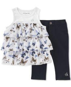 Calvin Klein Little Girls' 2-Pc. Tunic & Capri Leggings Set