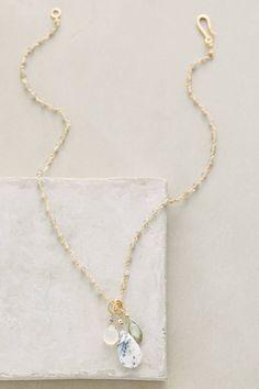 "Sastrugi Necklace #anthropologie $168   17""L, 22k gold vermeil, moonstone, labradorite, opal"