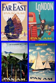 Early 1960s Pan Am ads. Love the London one!
