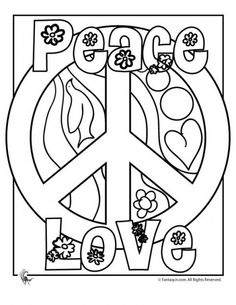 american hippie adult coloring page art peace love - Fun Coloring Pages To Print